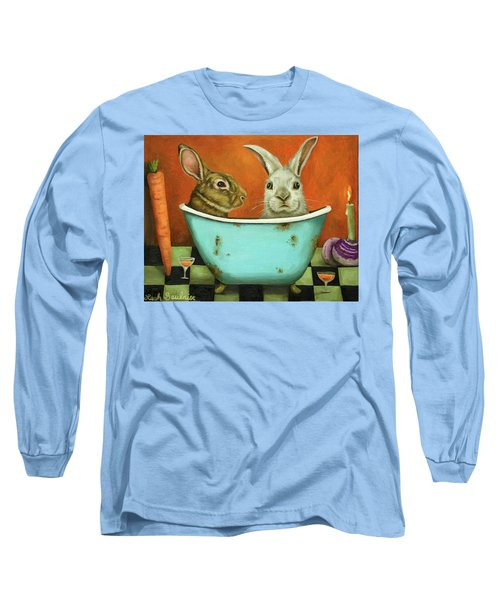 Long Sleeve T-Shirt featuring the painting Tale Of Two Bunnies by Leah Saulnier The Painting Maniac