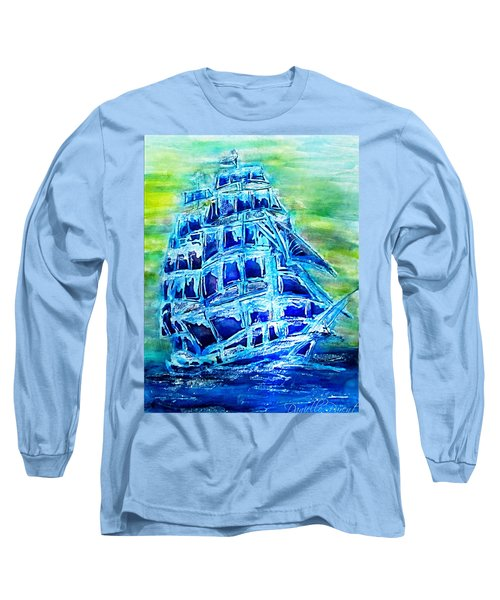 Tallship Alcohol Inks Long Sleeve T-Shirt by Danielle  Parent