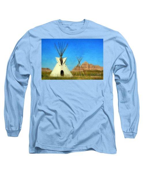 Tepee In Badlands Long Sleeve T-Shirt