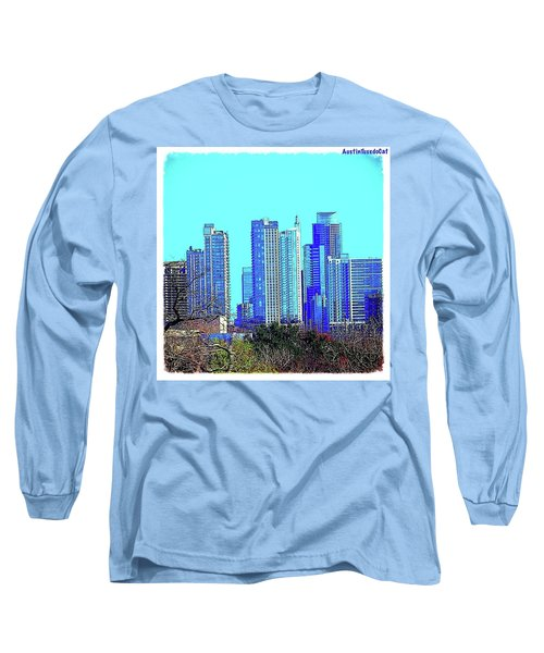The #austin #skyline On A Sunny, Cold Long Sleeve T-Shirt