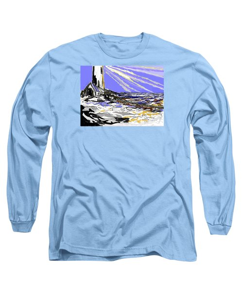 Long Sleeve T-Shirt featuring the drawing The Beacon by Desline Vitto