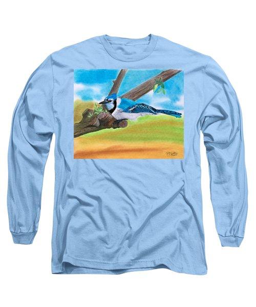 The Blue Jay  Long Sleeve T-Shirt by Tony Clark