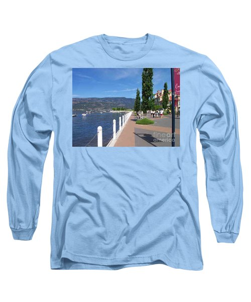 Long Sleeve T-Shirt featuring the painting The Boardwalk In Kelowna   by Rod Jellison