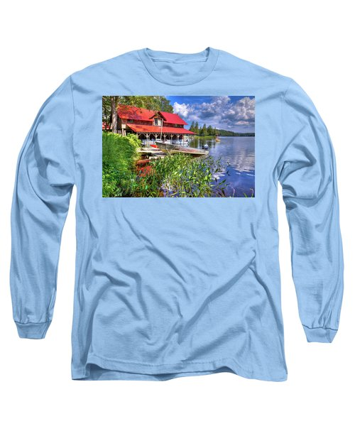 Long Sleeve T-Shirt featuring the photograph The Boathouse At Covewood by David Patterson