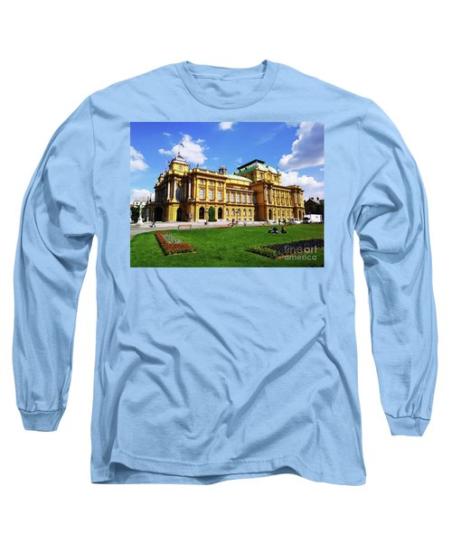 The Croatian National Theater In Zagreb, Croatia Long Sleeve T-Shirt by Jasna Dragun