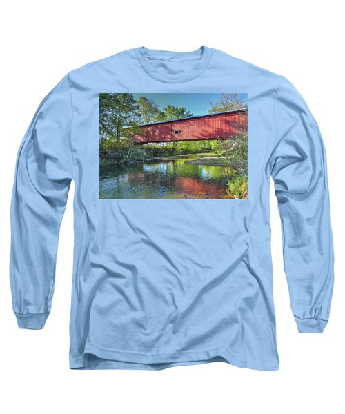 Long Sleeve T-Shirt featuring the photograph The Crooks Covered Bridge - Sideview by Harold Rau
