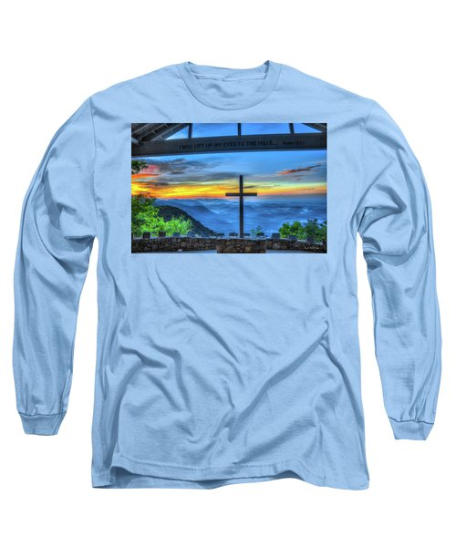 The Cross Sunrise At Pretty Place Chapel Long Sleeve T-Shirt by Reid Callaway