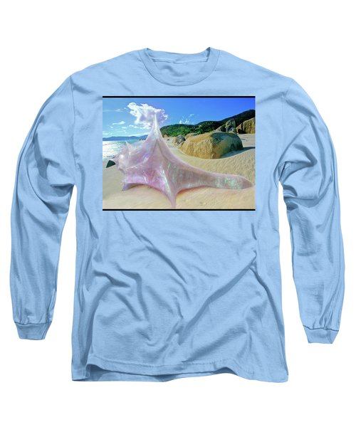 Long Sleeve T-Shirt featuring the sculpture The Crystalline Rainbow Shell Sculpture by Shawn Dall