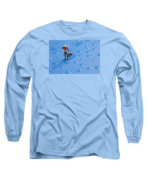 Long Sleeve T-Shirt featuring the photograph The Diver Among Water Drops Little People Big World by Paul Ge