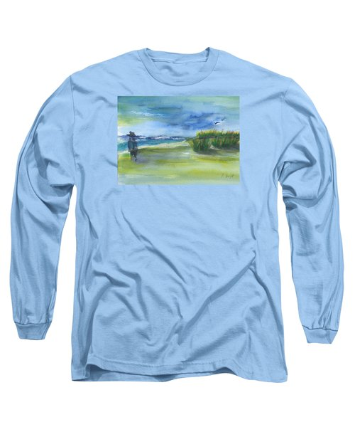 Long Sleeve T-Shirt featuring the mixed media The Gray Man Visits Pawleys Island Sc by Frank Bright