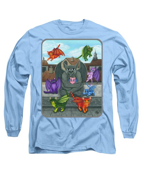 Long Sleeve T-Shirt featuring the painting The Guardian Gargoyle Aka The Kitten Sitter by Carrie Hawks