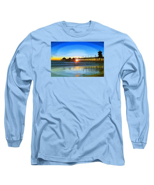 Long Sleeve T-Shirt featuring the photograph The Huntington Beach Pier by Everette McMahan jr