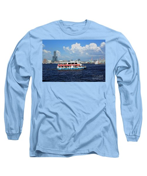 Long Sleeve T-Shirt featuring the photograph The Kaohsiung Harbor Ferry Crosses The Bay by Yali Shi