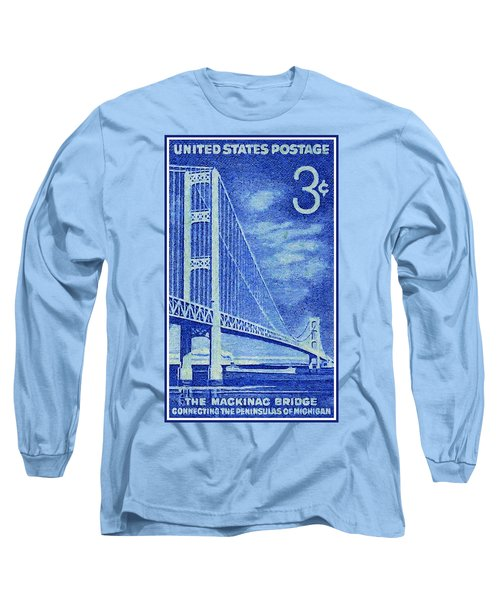 The Mackinac Bridge Stamp Long Sleeve T-Shirt