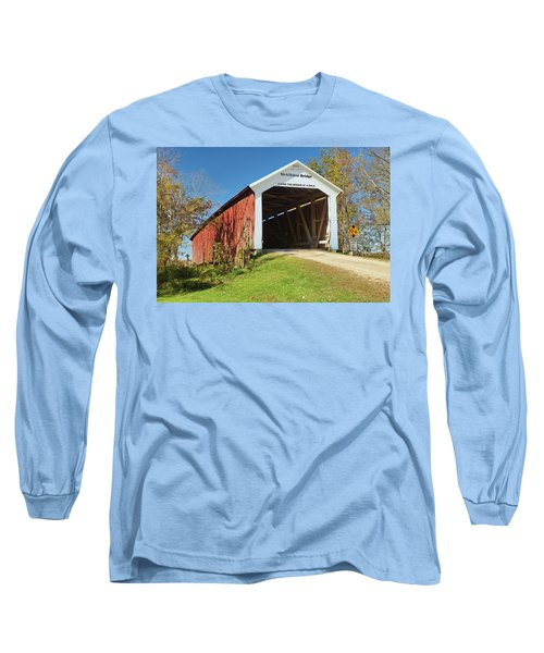 Long Sleeve T-Shirt featuring the photograph The Mcallister Covered Bridge by Harold Rau