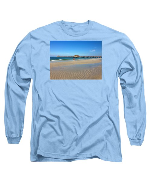 Long Sleeve T-Shirt featuring the photograph The Naples Pier At Low Tide by Robb Stan
