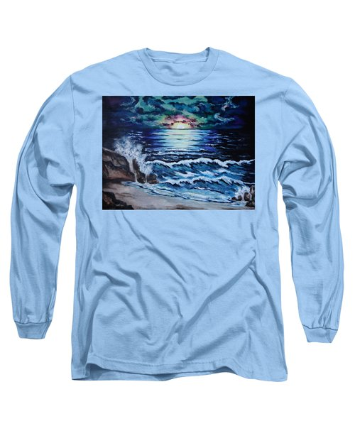 Long Sleeve T-Shirt featuring the painting The Ocean Sings The Sky Listens by Cheryl Pettigrew
