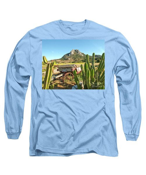 The Old Wagon And Cactus Patch In Front Of One Of The Seven Sisters In San Luis Obispo California Long Sleeve T-Shirt
