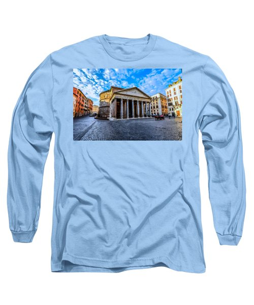 Long Sleeve T-Shirt featuring the painting The Pantheon Rome by David Dehner