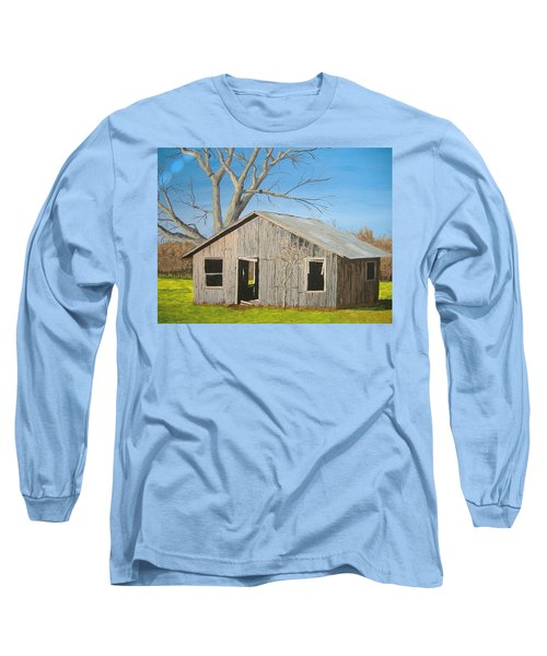 Long Sleeve T-Shirt featuring the painting The Shack by Norm Starks