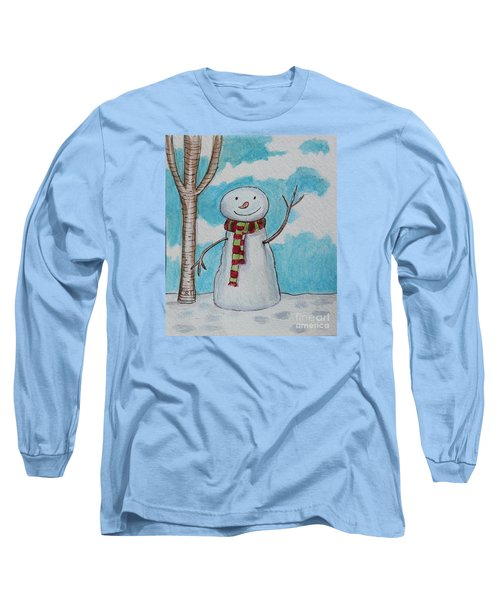 The Snowman Smile Long Sleeve T-Shirt by Elizabeth Robinette Tyndall