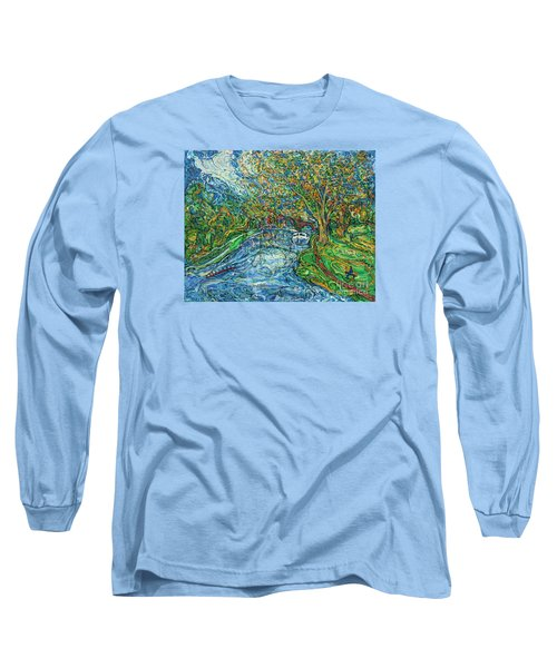 The Thames At Oxford Long Sleeve T-Shirt by Anna Yurasovsky