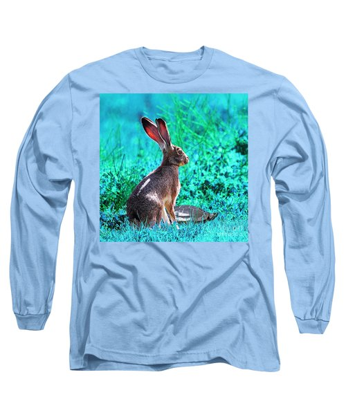 The Tortoise And The Hare . Cyan Square Long Sleeve T-Shirt