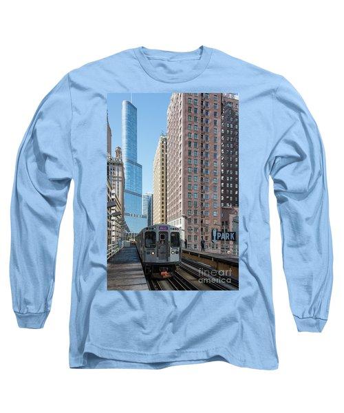 The Wabash L Train At Eye Level Long Sleeve T-Shirt