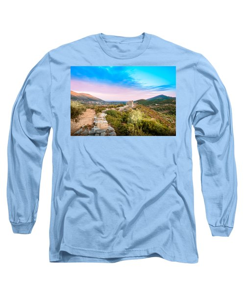 The Walls Of Ancient Messene - Greece. Long Sleeve T-Shirt by Stavros Argyropoulos