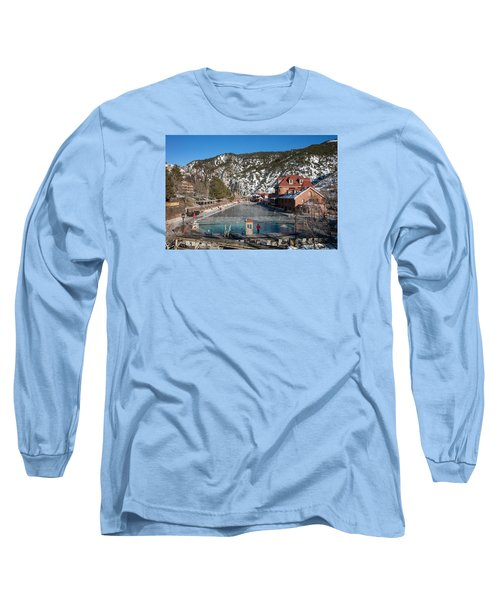 The World's Largest Hot-springs Pool At The Spa Of The Rockies In Glenwood Springs Long Sleeve T-Shirt by Carol M Highsmith