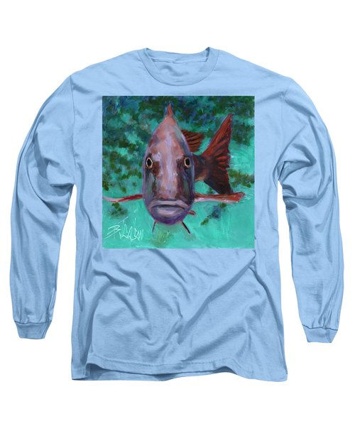 Long Sleeve T-Shirt featuring the painting There's Something Fishy Going On Here by Billie Colson