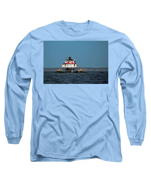 Thomas Point Shoal Light Long Sleeve T-Shirt by Sally Weigand