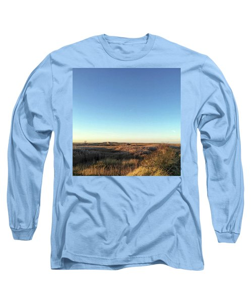 Thornham Marsh Lit By The Setting Sun Long Sleeve T-Shirt by John Edwards