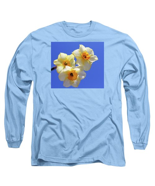 Long Sleeve T-Shirt featuring the photograph Three Daffodils by Judy Vincent