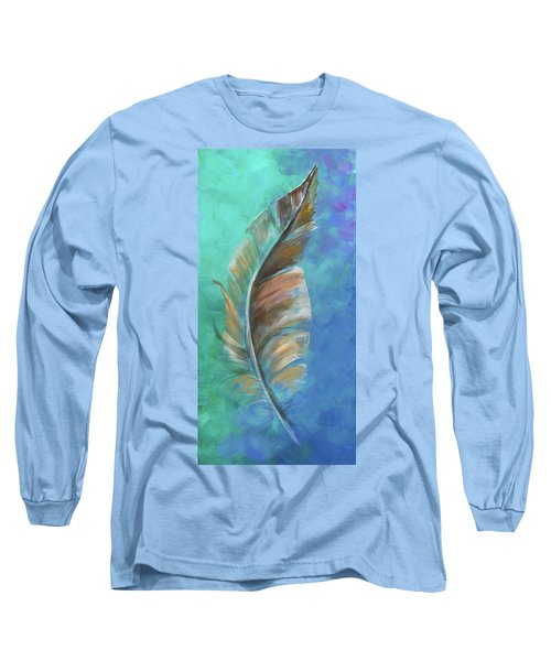 Long Sleeve T-Shirt featuring the painting Three Feathers Triptych-center Panel by Agata Lindquist