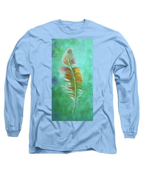 Long Sleeve T-Shirt featuring the painting Three Feathers Triptych-left Panel by Agata Lindquist