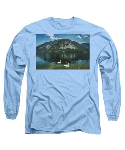 Three Lake Hallstatt Swans Long Sleeve T-Shirt