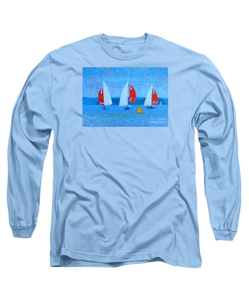 Three Red Sails  Long Sleeve T-Shirt by Rae  Smith