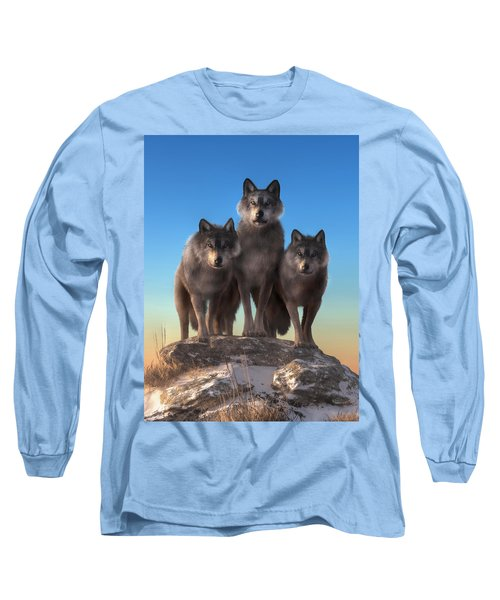 Three Wolves Watching You Long Sleeve T-Shirt