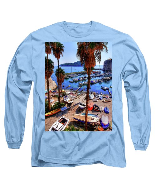 Through The Trees Dubrovnik Harbour Long Sleeve T-Shirt