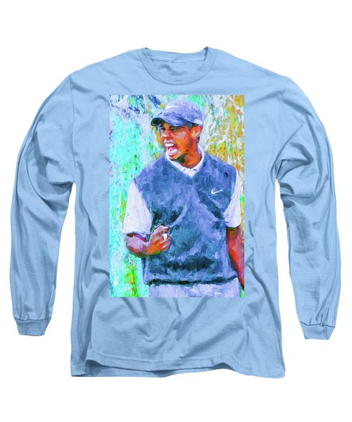 Long Sleeve T-Shirt featuring the photograph Tiger One Two Three Painting Digital Golfer by David Haskett