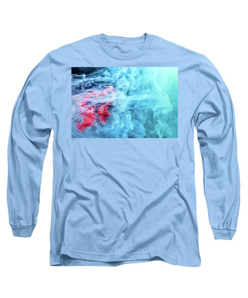 Time Travel - Blue Abstract Photography Long Sleeve T-Shirt by Modern Art Prints