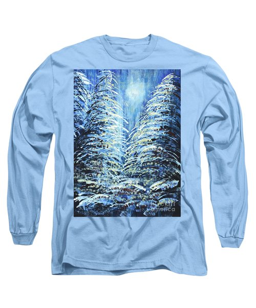 Long Sleeve T-Shirt featuring the painting Tim's Winter Forest by Holly Carmichael
