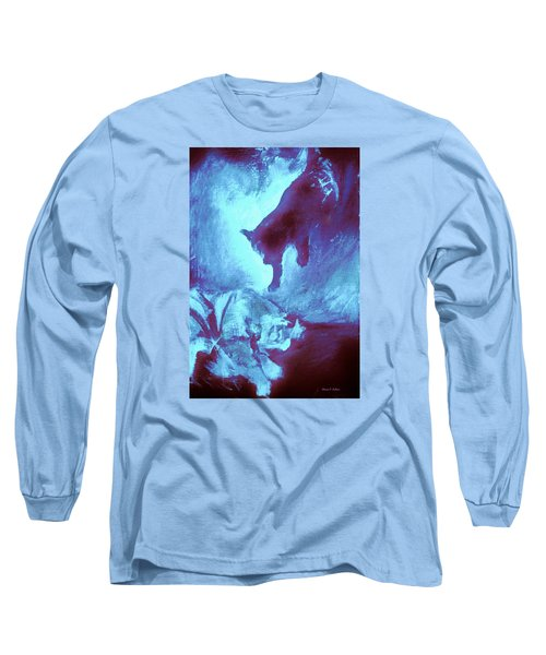 Long Sleeve T-Shirt featuring the painting Tip Toeing On Little Cat Feet by Denise Fulmer