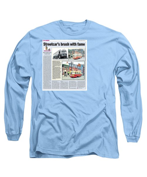 Long Sleeve T-Shirt featuring the painting Toronto Sun Article Streetcars Brush With Fame by Kenneth M Kirsch