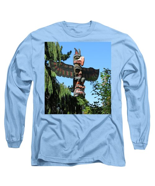 Totem Pole Long Sleeve T-Shirt by Betty Buller Whitehead
