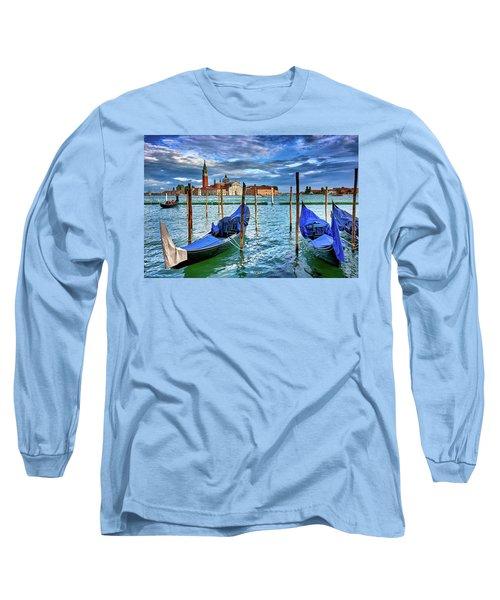 Gondolas And San Giorgio Di Maggiore In Venice, Italy Long Sleeve T-Shirt
