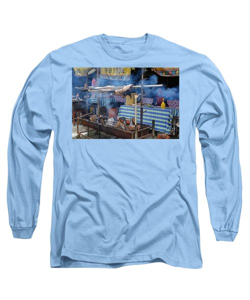 Traditional Market In Taiwan Native Village Long Sleeve T-Shirt by Yali Shi