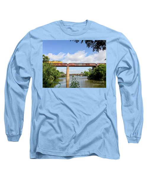 Train Across Lady Bird Lake Long Sleeve T-Shirt by Felipe Adan Lerma