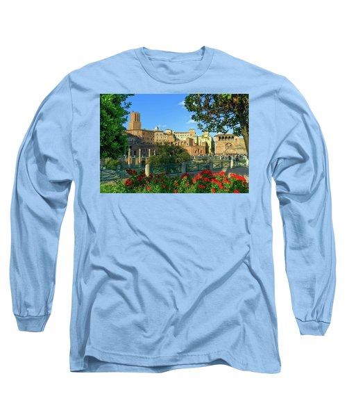 Trajan's Forum, Traiani, Roma, Italy Long Sleeve T-Shirt by Elenarts - Elena Duvernay photo